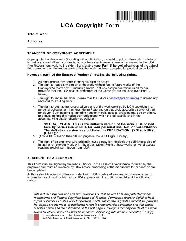 Ijca copyright form