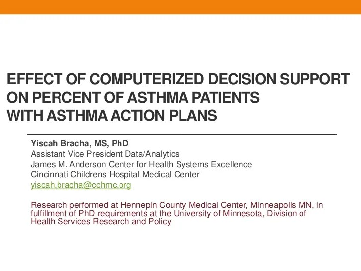 Impact Of a Clinical Decision Support Tool on Asthma