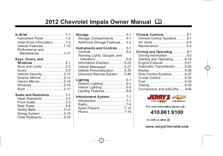 2012 Chevy Impala Owner's Manual Baltimore, Maryland