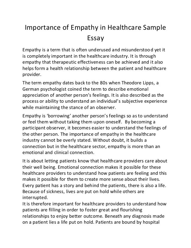 Importance Of Empathy In Healthcare Sample Essay