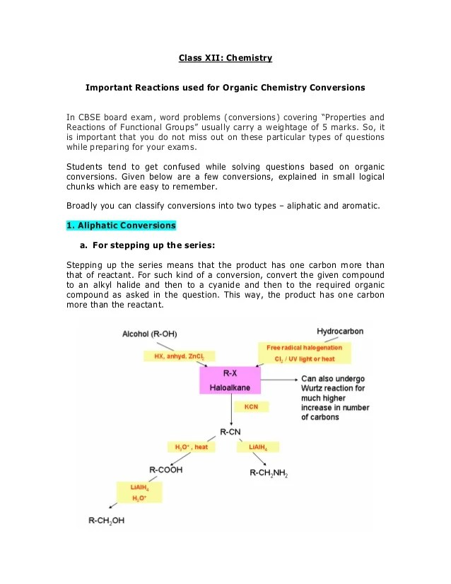 Class xii chemistry important reactions used for organic conversions in cbse board exam also rh slideshare