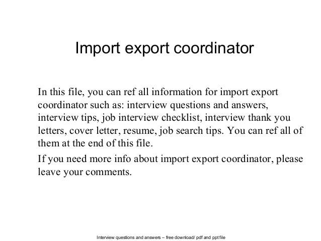 Import export coordinator