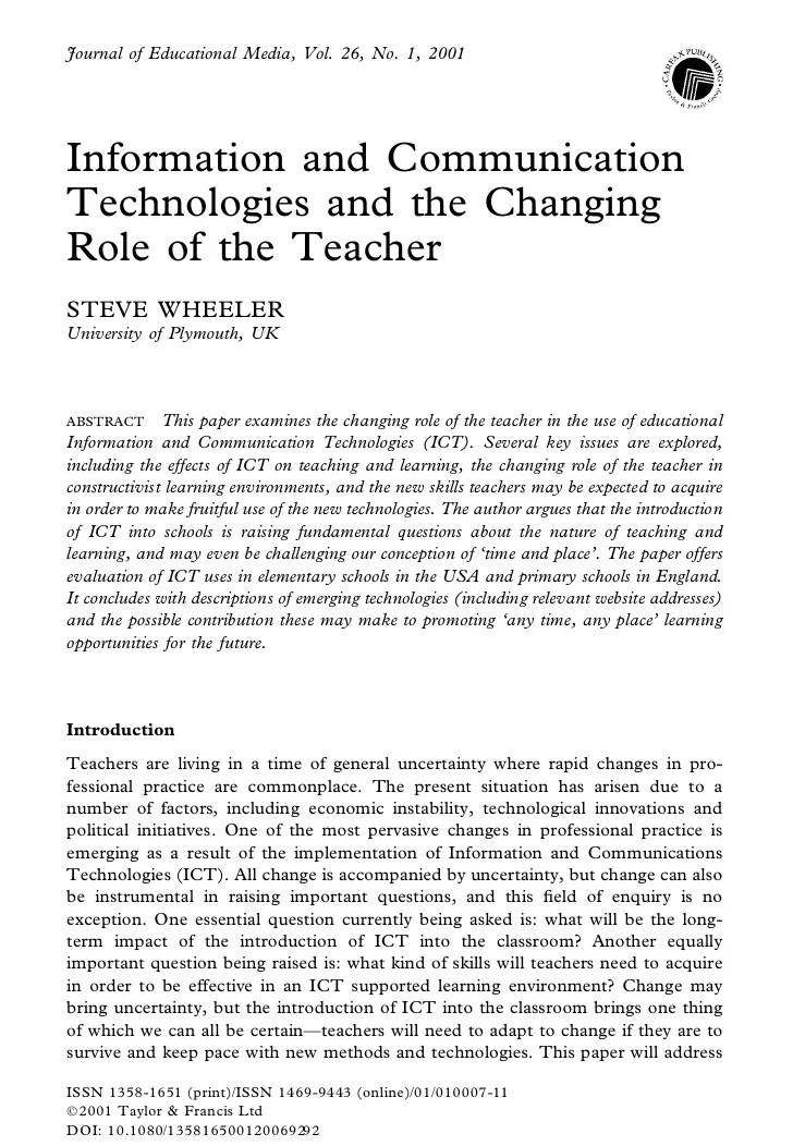 ICT And The Changing Role Of The Teacher