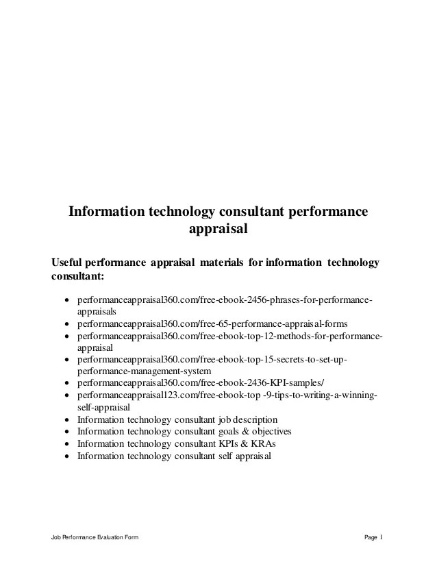 Information technology consultant performance appraisal