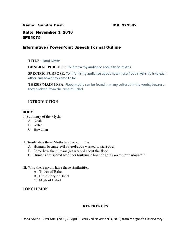 Informative Speech Formal Outline 1