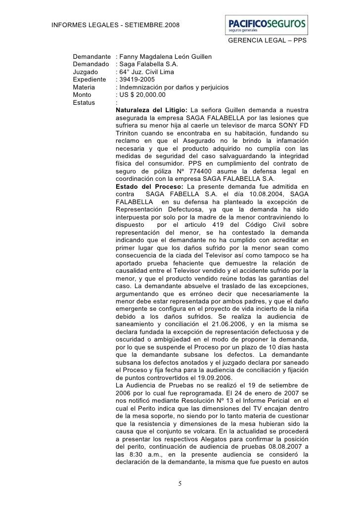 Pacifico seguros informe legal