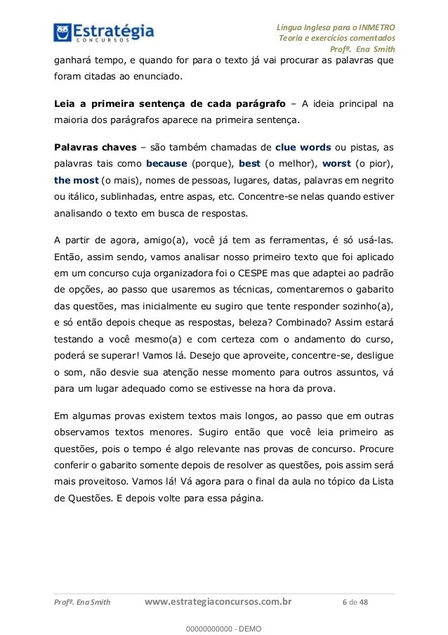 Curso De Inglês P Concurso Inmetro