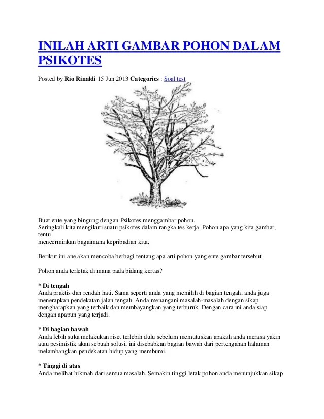 Tutorial Gambar Pohon Dan Penjelasan Makna - Tes Psikotes