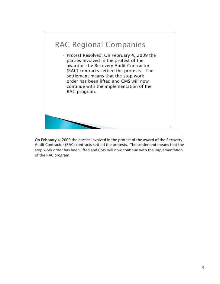 Medicare  CMS RAC Audit Presentation