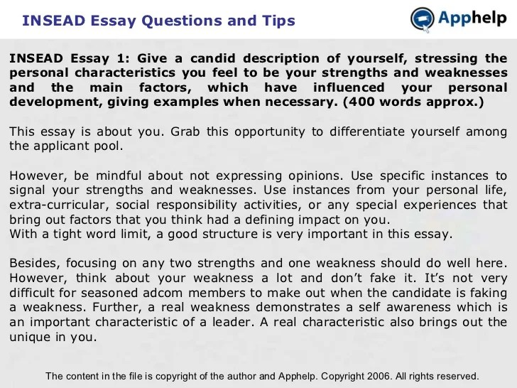 Insead Essays Insead Essay Tips