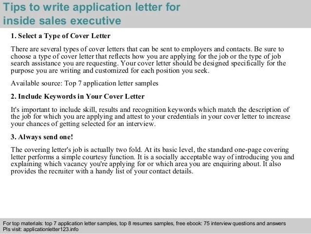 Inside sales executive application letter