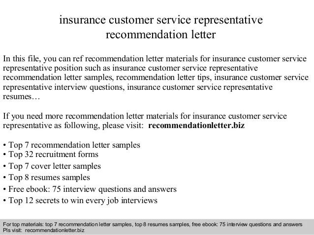 Insurance Customer Service Representative Recommendation