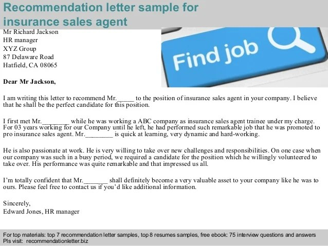 Insurance sales agent recommendation letter