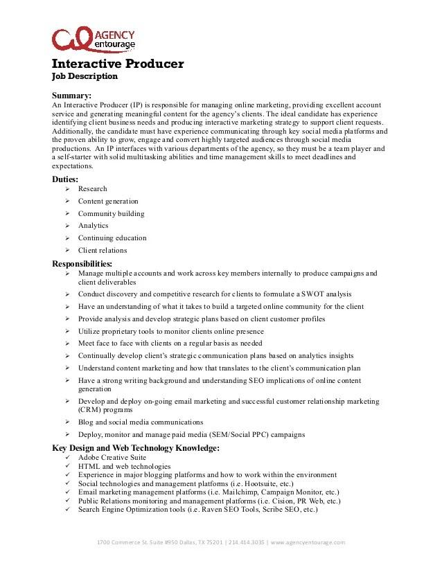 advertising job description resume sample