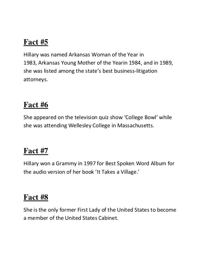 interesting facts about hillary