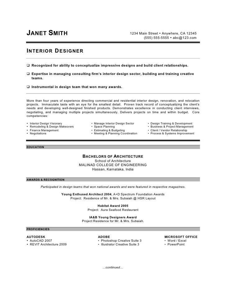 Interior Design Resume Summary