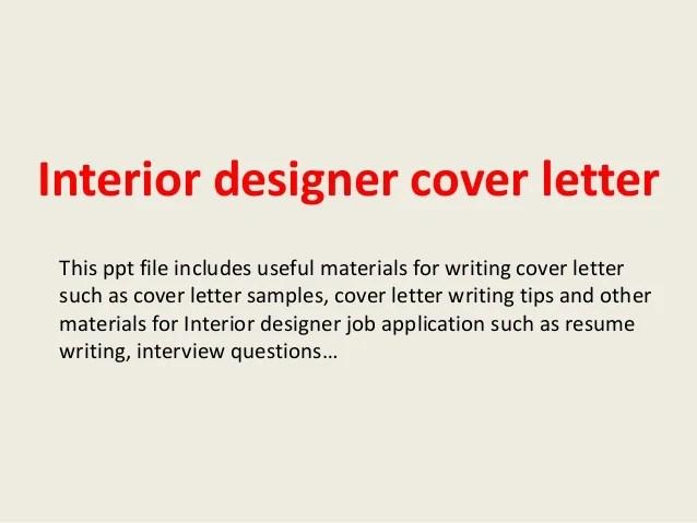 Interior Design Cover Letter Sample