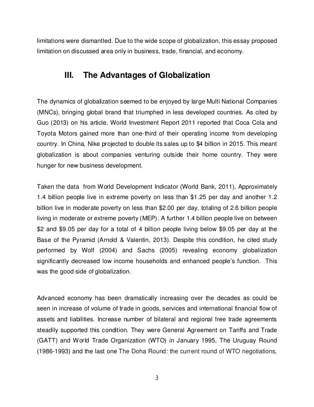 Globalization Papers Essays