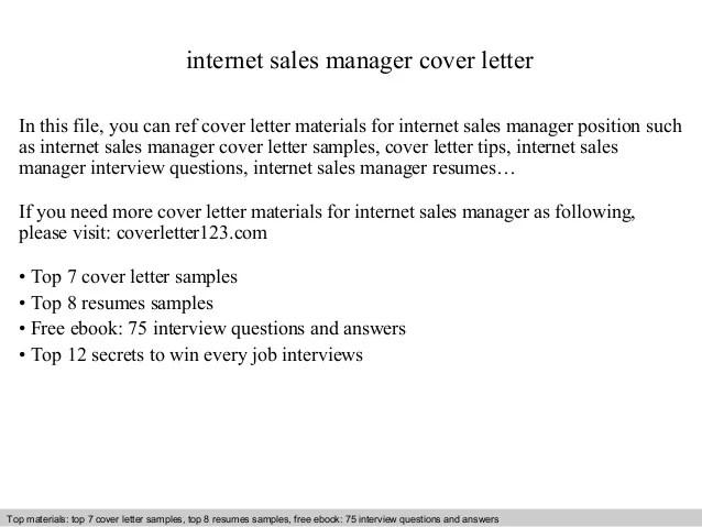 Internet sales manager cover letter