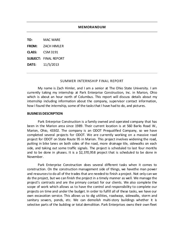 Internship Experience Final Report