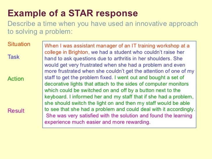 Problem solving selection criteria response