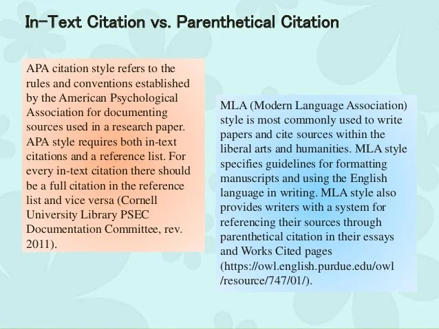 In Text Citations In Writing Research