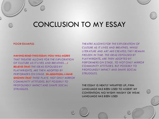How to write a good conclusion for an essay examples