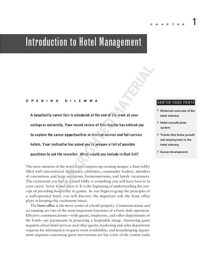 Introduction To Hotel Management
