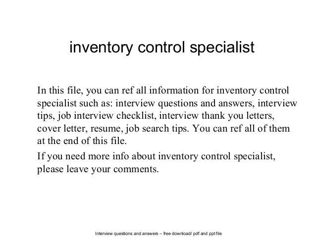Inventory control specialist