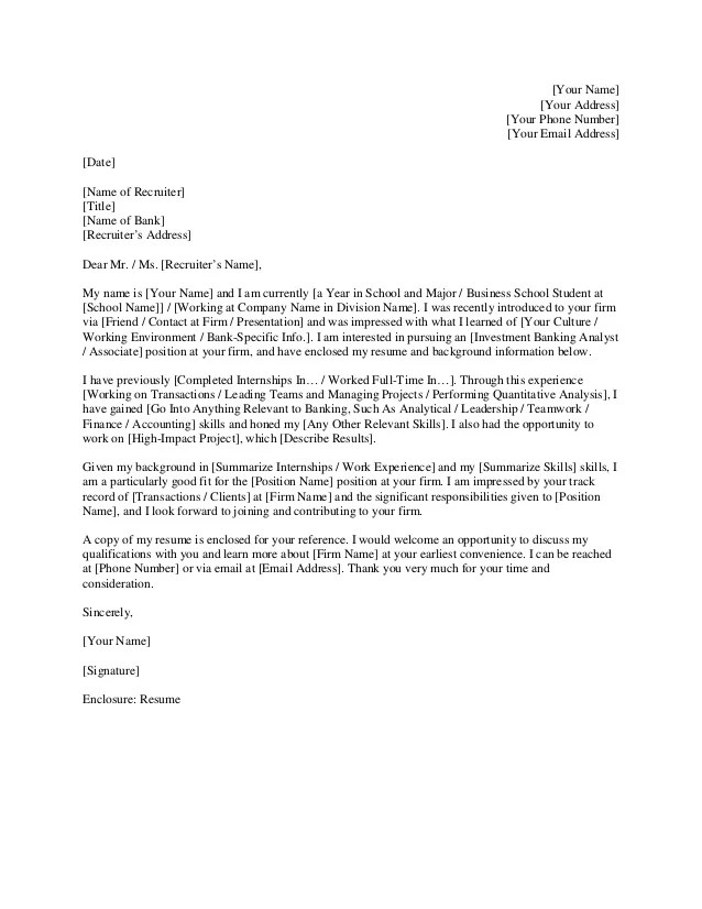 Investment banking cover letter  The way towards Generate