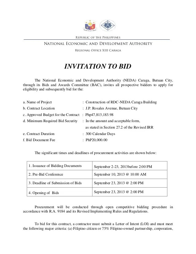 Invitation to bid template construction newsinvitation tender invitation letter sample construction 4a of for without project consultant home leadership stopboris Gallery