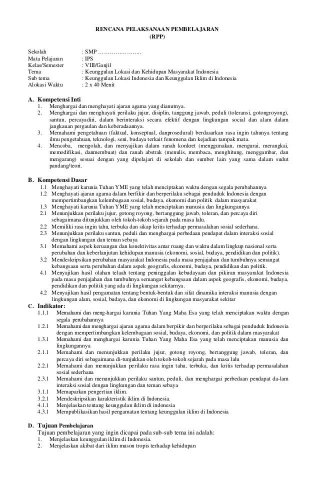 Rpp Ips Kelas 8 Kurikulum 2013 Semester 1 Dan 2 : kelas, kurikulum, semester, Kelas