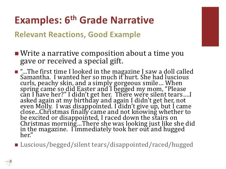 narrative writing examples 5th grade