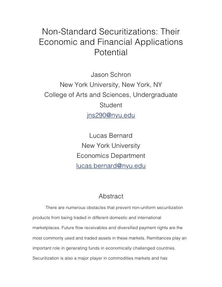 NYU Economics Research Paper Independent Study Fall 2010