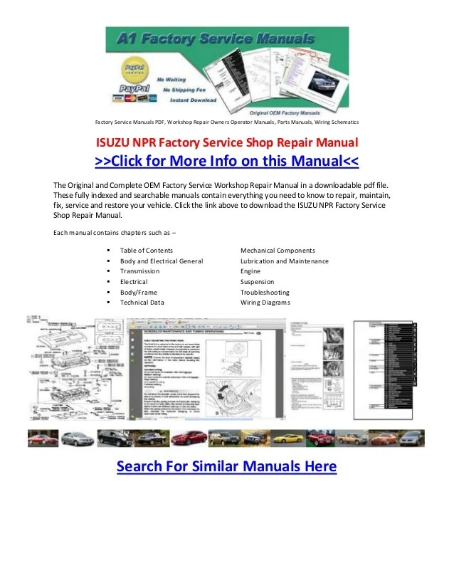 Cat Engine Schematics Isuzu Npr Factory Service Shop Repair Manual