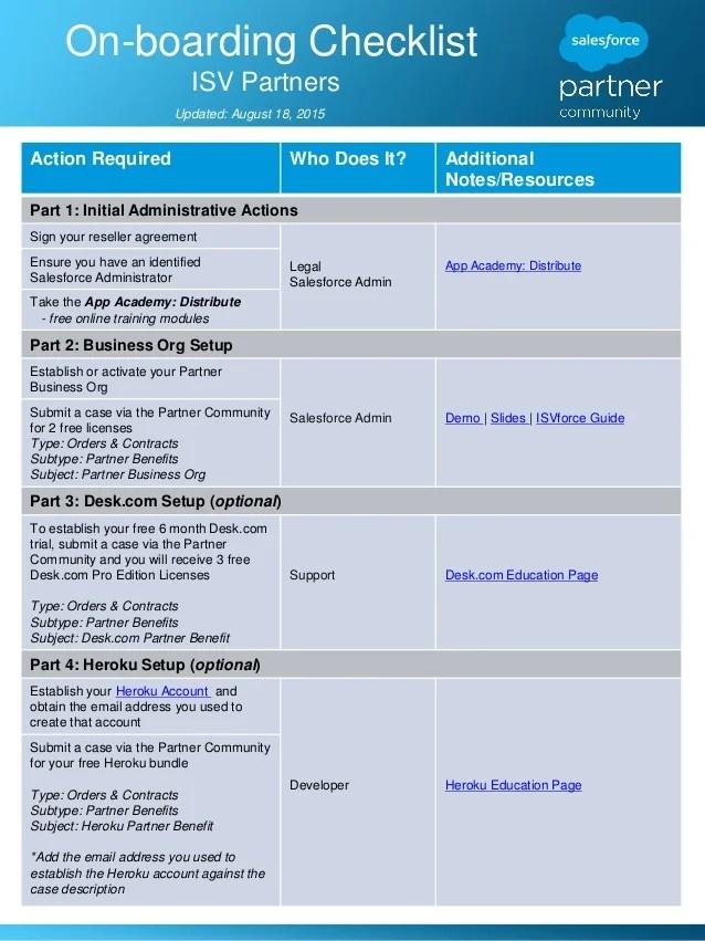 ISV Partner On Boarding Checklist