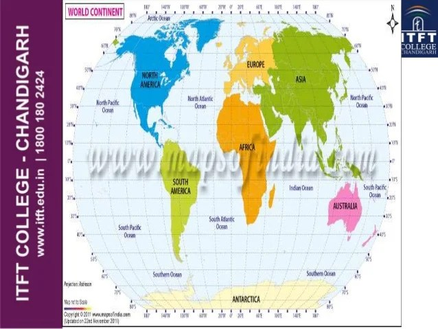 ITFT- continents and oceans of world