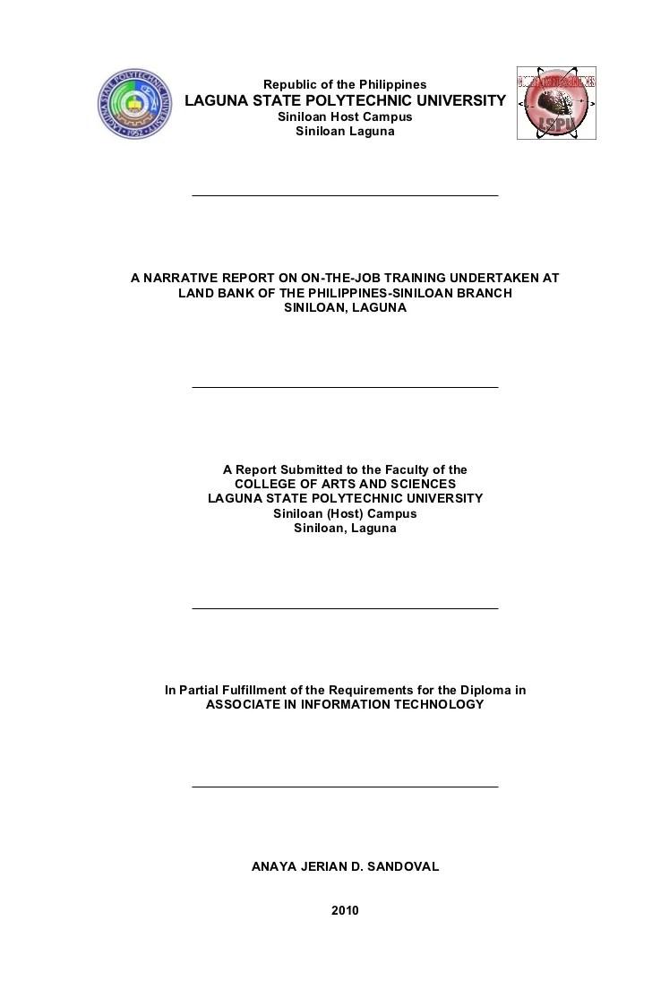 LSPU Siniloan IT Narrative Report Format