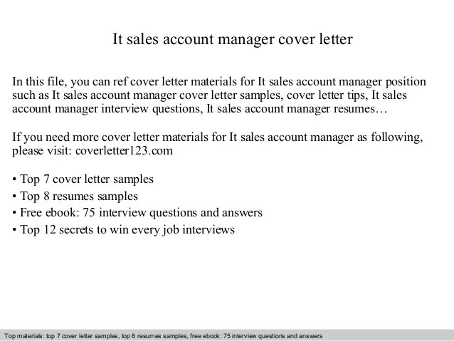 It sales account manager cover letter