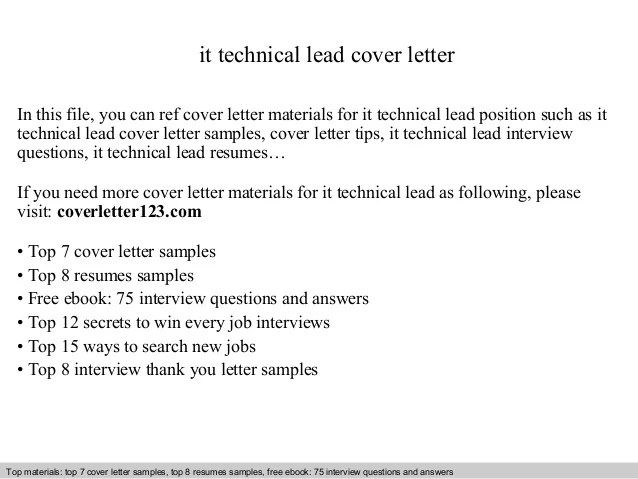 It technical lead cover letter