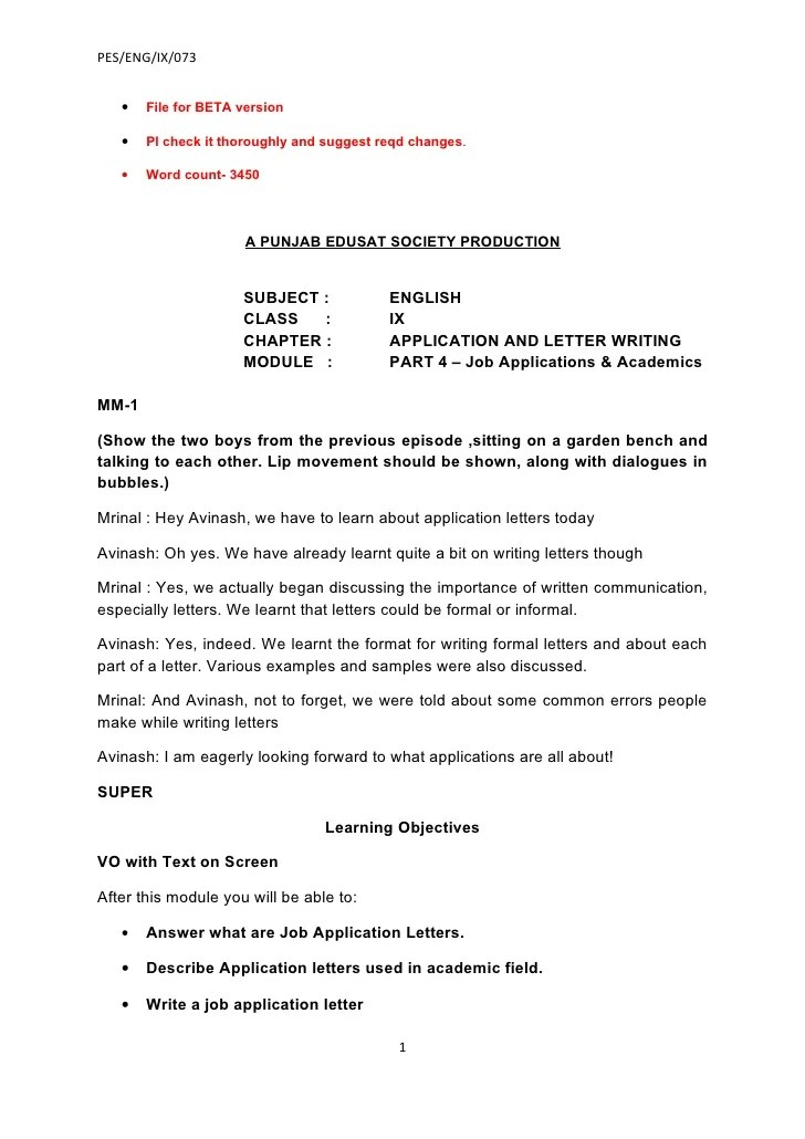 how to write letter of application