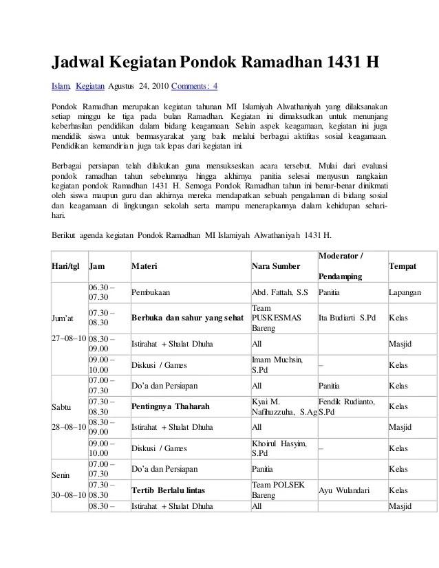 Contoh Laporan Kegiatan Pesantren Kilat Ramadhan Smp Kumpulan Contoh Laporan Cute766
