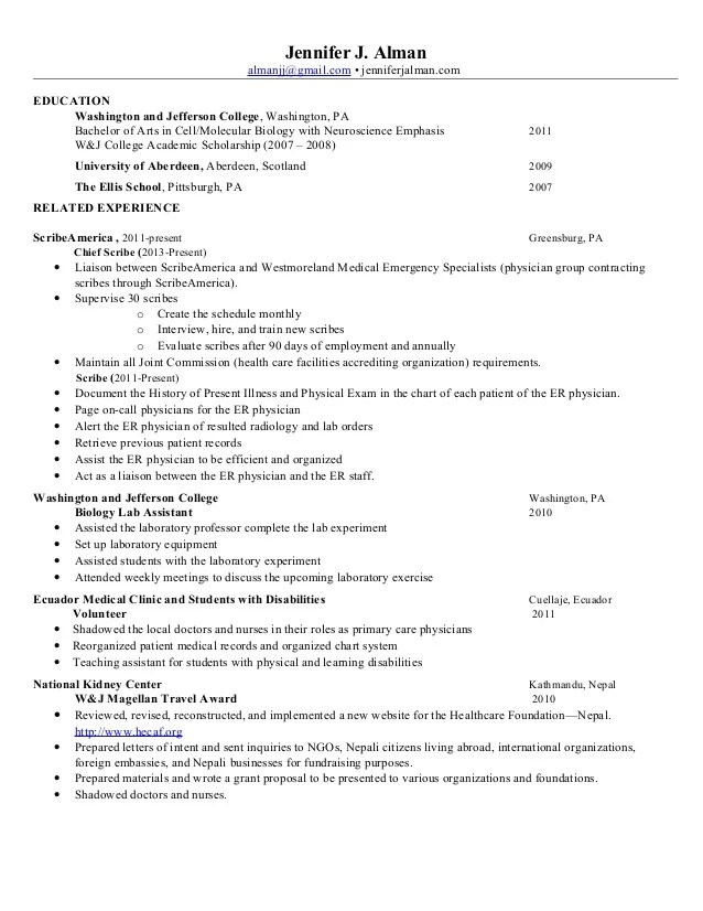 resume example for shadowing