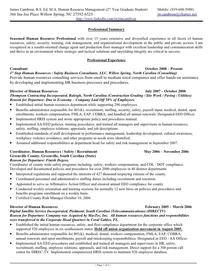hr generalist resume format