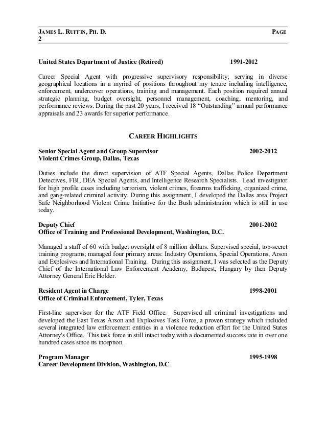 fbi special agent federal resume template