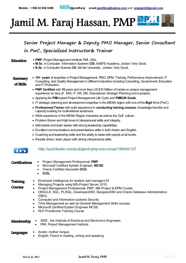 Sample Pmp Resume Project Management Resume Template Project