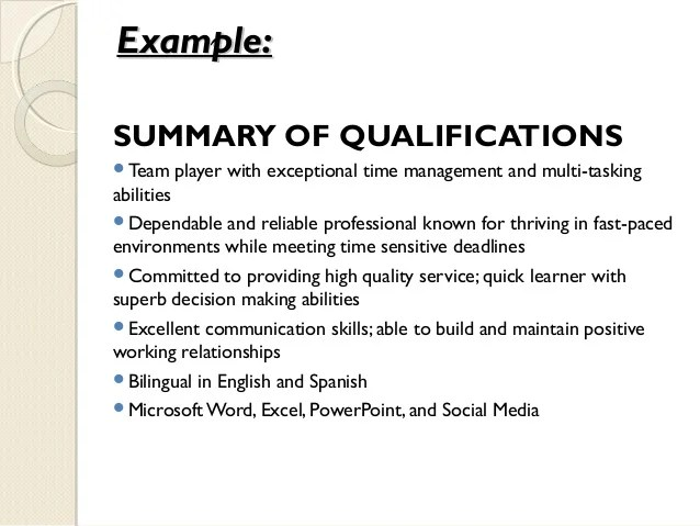 Summary Of Qualifications On Resume Examples