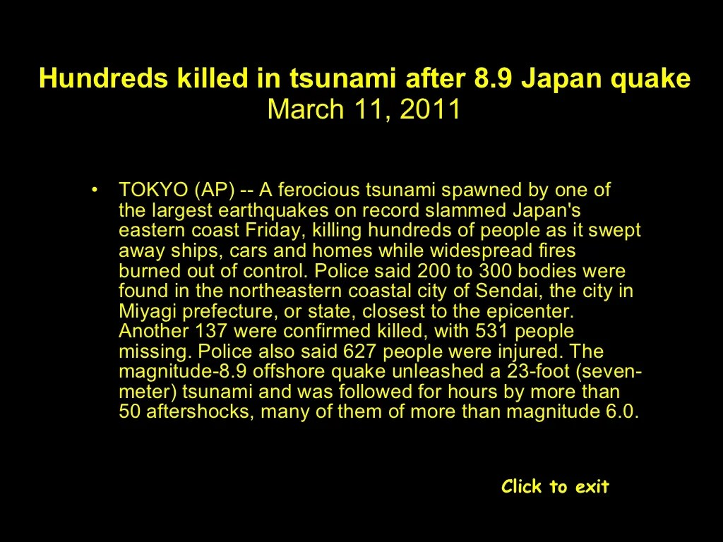 Hundreds Killed In Tsunami After