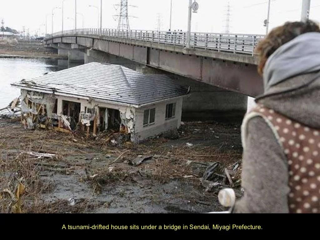 A Tsunami Drifted House Sits Under