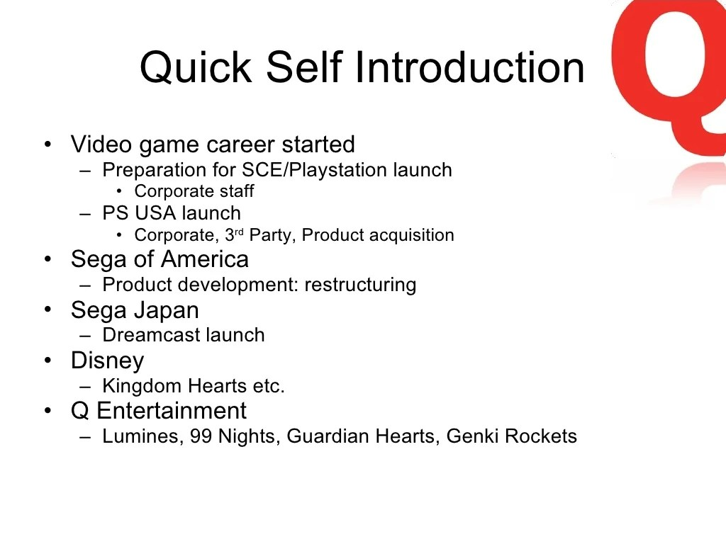 Quick Self Introduction Video Game